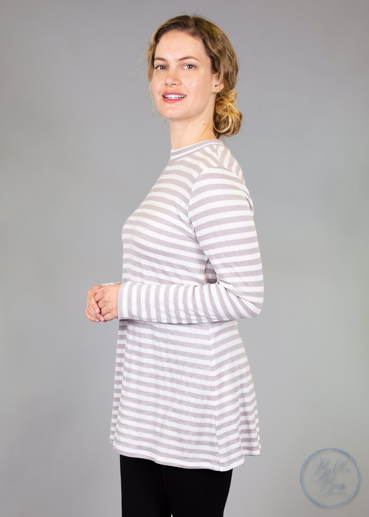 Paisley Raye Statice Long-sleeve- Grey and White Stripe (L) - Paisley Raye with Bella Bay Boutique, shop now at  https://shopbellabay.com/ or locally in Newport Oregon