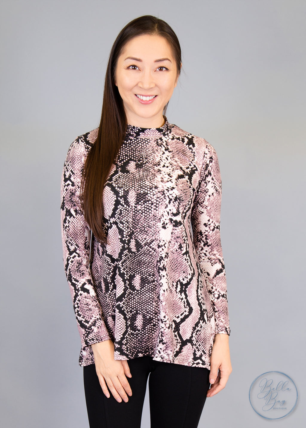 Paisley Raye Statice Long-sleeve- Pink Snake Skin (3X) - Paisley Raye with Bella Bay Boutique, shop now at  https://shopbellabay.com/ or locally in Newport Oregon