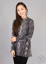 Paisley Raye Statice Long-sleeve- Black Snake Skin (M) - Paisley Raye with Bella Bay Boutique, shop now at  https://shopbellabay.com/ or locally in Newport Oregon