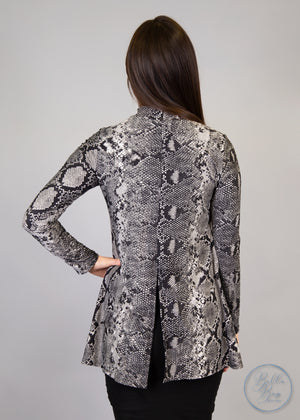 Paisley Raye Statice Long-sleeve- Black Snake Skin (0X) - Paisley Raye with Bella Bay Boutique, shop now at  https://shopbellabay.com/ or locally in Newport Oregon