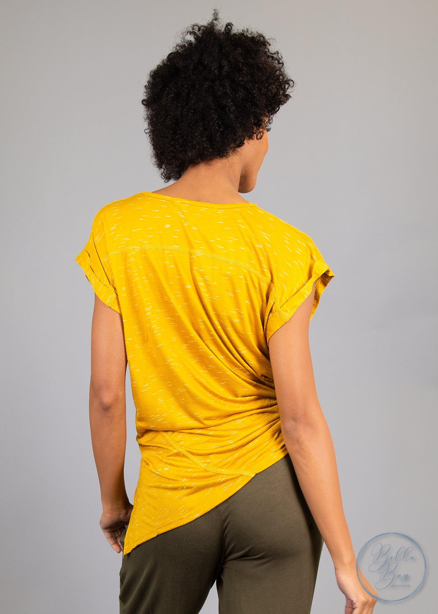 Paisley Raye Tulip Tee- Mustard (L) - Paisley Raye with Bella Bay Boutique, shop now at  https://shopbellabay.com/ or locally in Newport Oregon