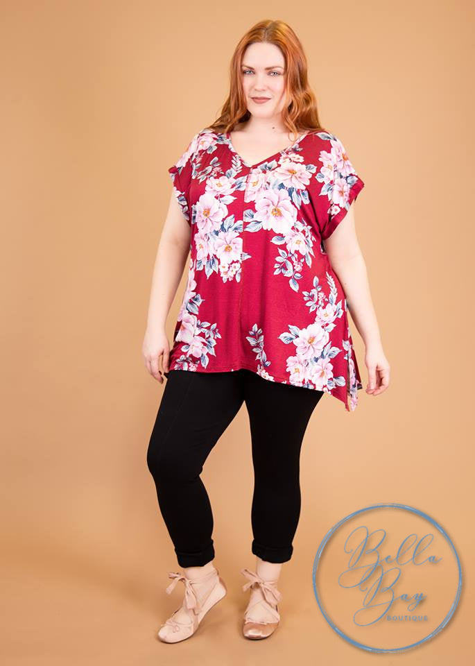 Paisley Raye Tulip Tee- Burgundy Floral (2X) - Paisley Raye with Bella Bay Boutique, shop now at  https://shopbellabay.com/ or locally in Newport Oregon