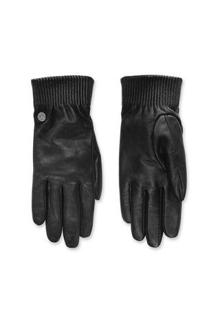 Leather Rib Luxe Gloves - BLACK