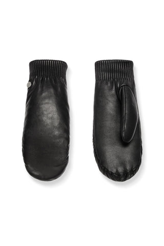 Ladies Leather Rib Luxe Mitt -Black