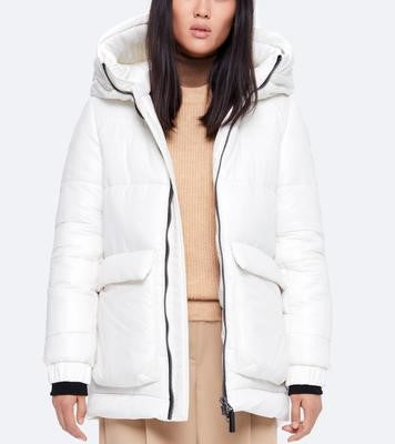 ACTUELLE - White **Fur-trimmed Hood