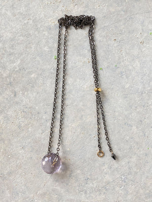 Amethyst 925 Ruthenium Sterling Silver Necklace 黑色925純銀紫水晶頸鏈