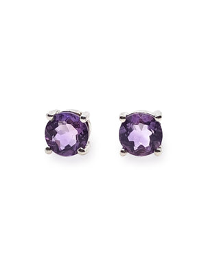Healing Amethyst 925 Sterling Silver Rhodium Plated Purple Earring.