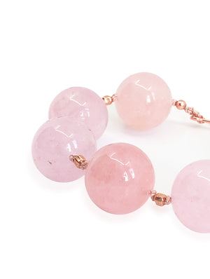 Purifying Morganite Pink Crystal 14 Karat Rose Gold Bracelet.