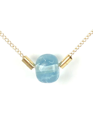 OM.Theplacement Aquamarine 14-Karat Gold Filled Necklace.