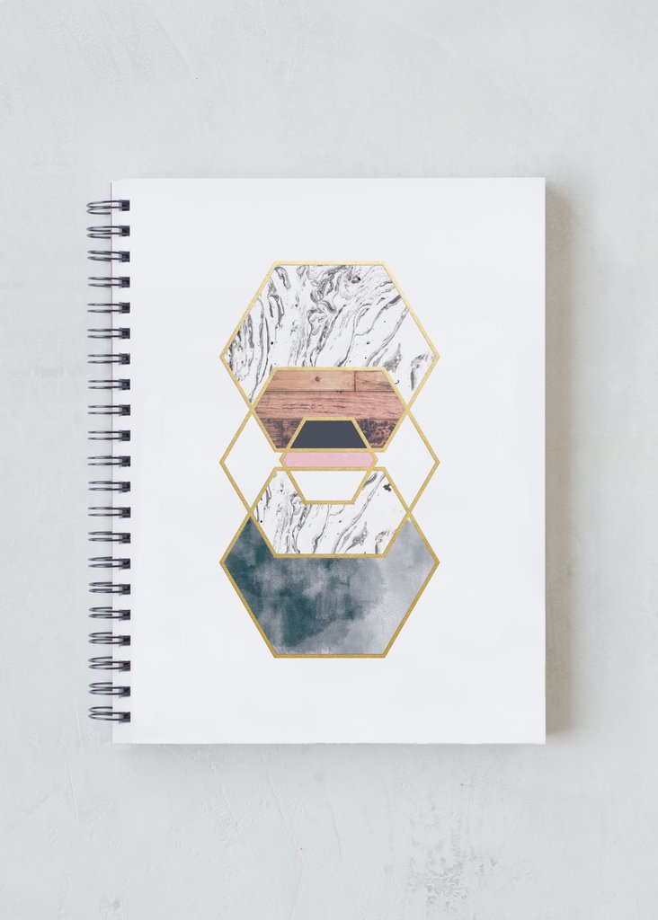 Gold Hexes Spiral Notebook