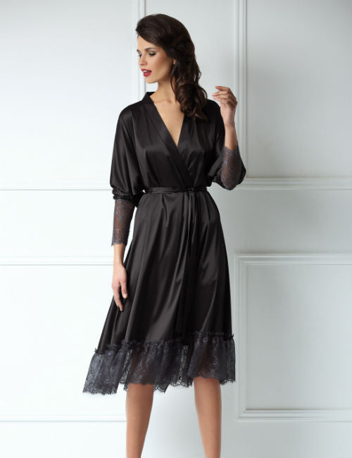 Satin Midi Robe, Sort