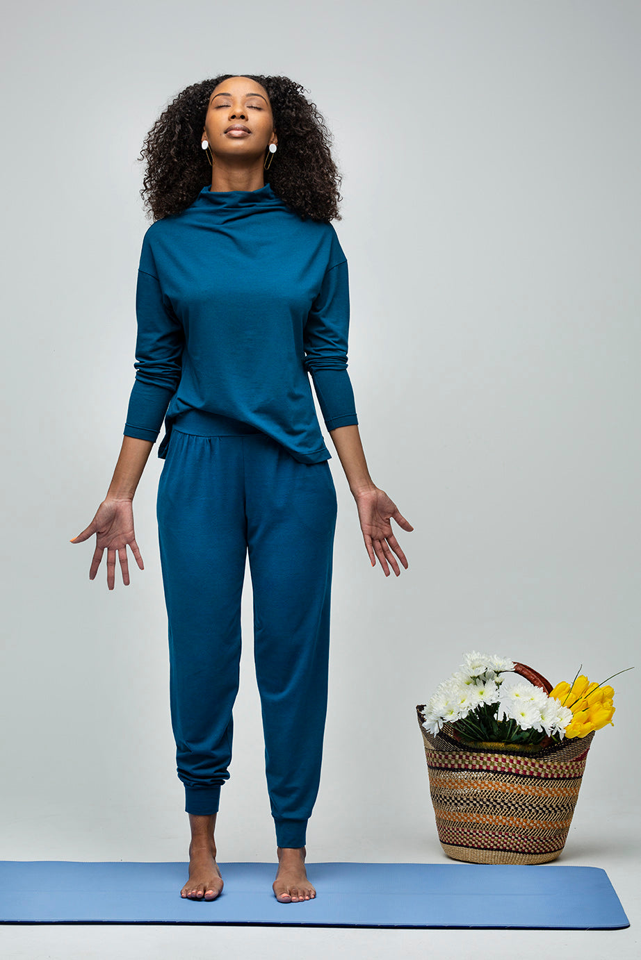 24/7 Pants in Peacock and Effortless Long-sleeve Top in Peacock