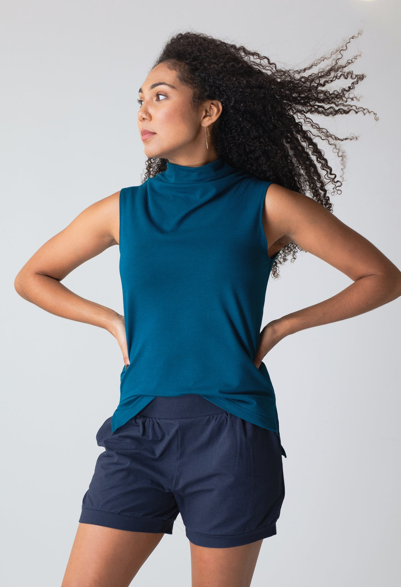 Effortless Sleeveless Top in Peacock with All-Around Shorts in Navy
