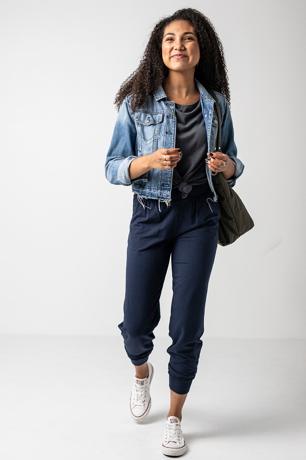24/7 Pants in Navy and Flirty Off-Shoulder in Slate Gray