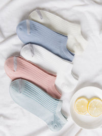 Ribbed Ankle Socks 5pairs-Negative Apparel (2038873161798)