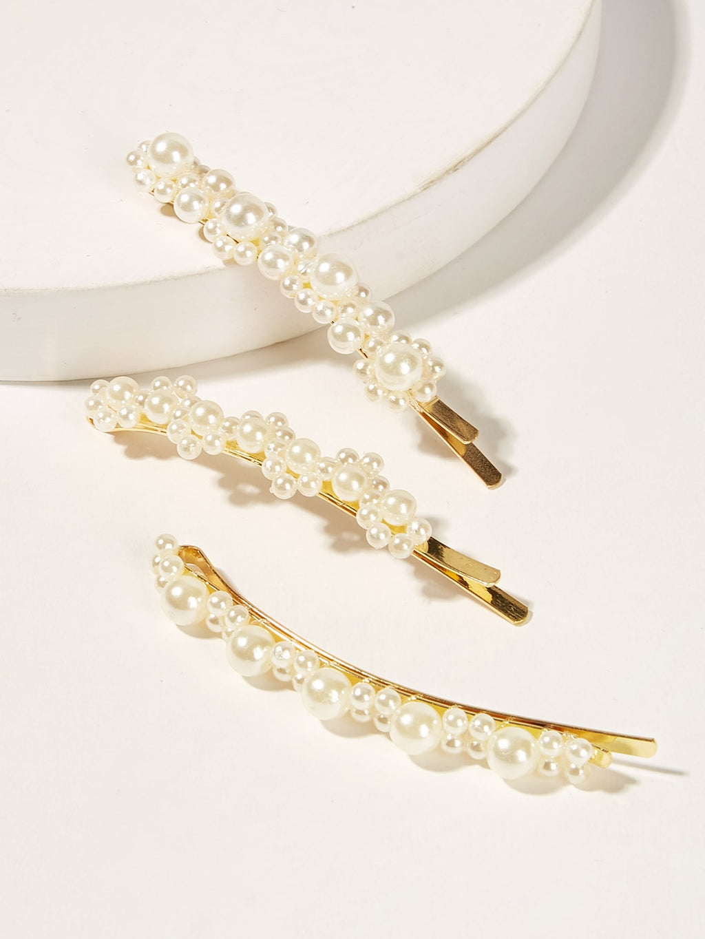 Faux Pearl Decor Hairpin 3pack-Negative Apparel (2087759544390)