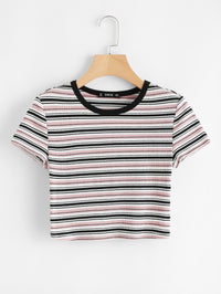 Contrast Tape Striped Print Ribbed Tee-Negative Apparel (1993007366214)