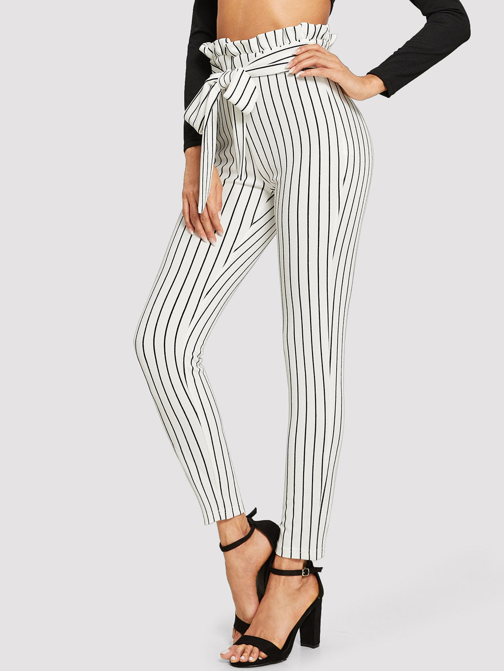 Frill Trim Bow Tie Waist Striped Pants-Negative Apparel (1930330406982)
