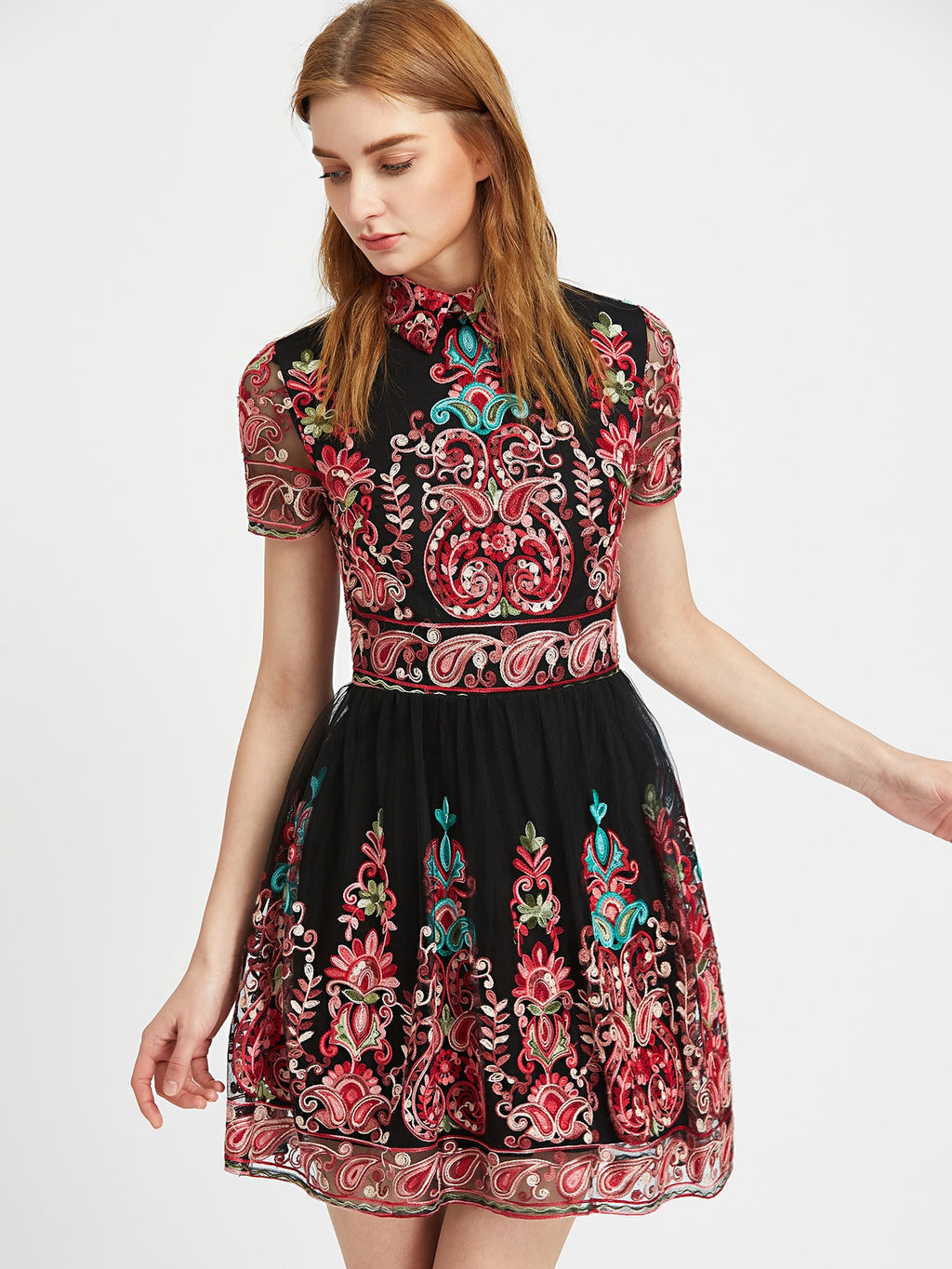 Paisley Embroidered Mesh Overlay Flared Dress (4384099991617)