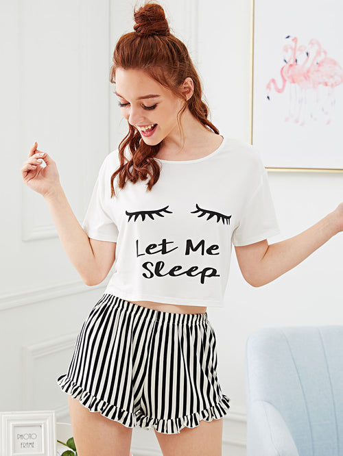 Eye and Letter Graphic Top & Ruffle Striped Shorts PJ Set FD-Negative Apparel