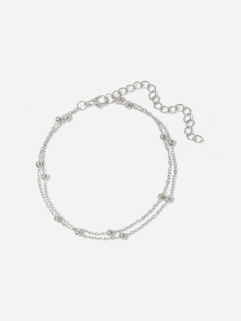 Metal Ball Detail Layered Chain Anklet (3987060162630)