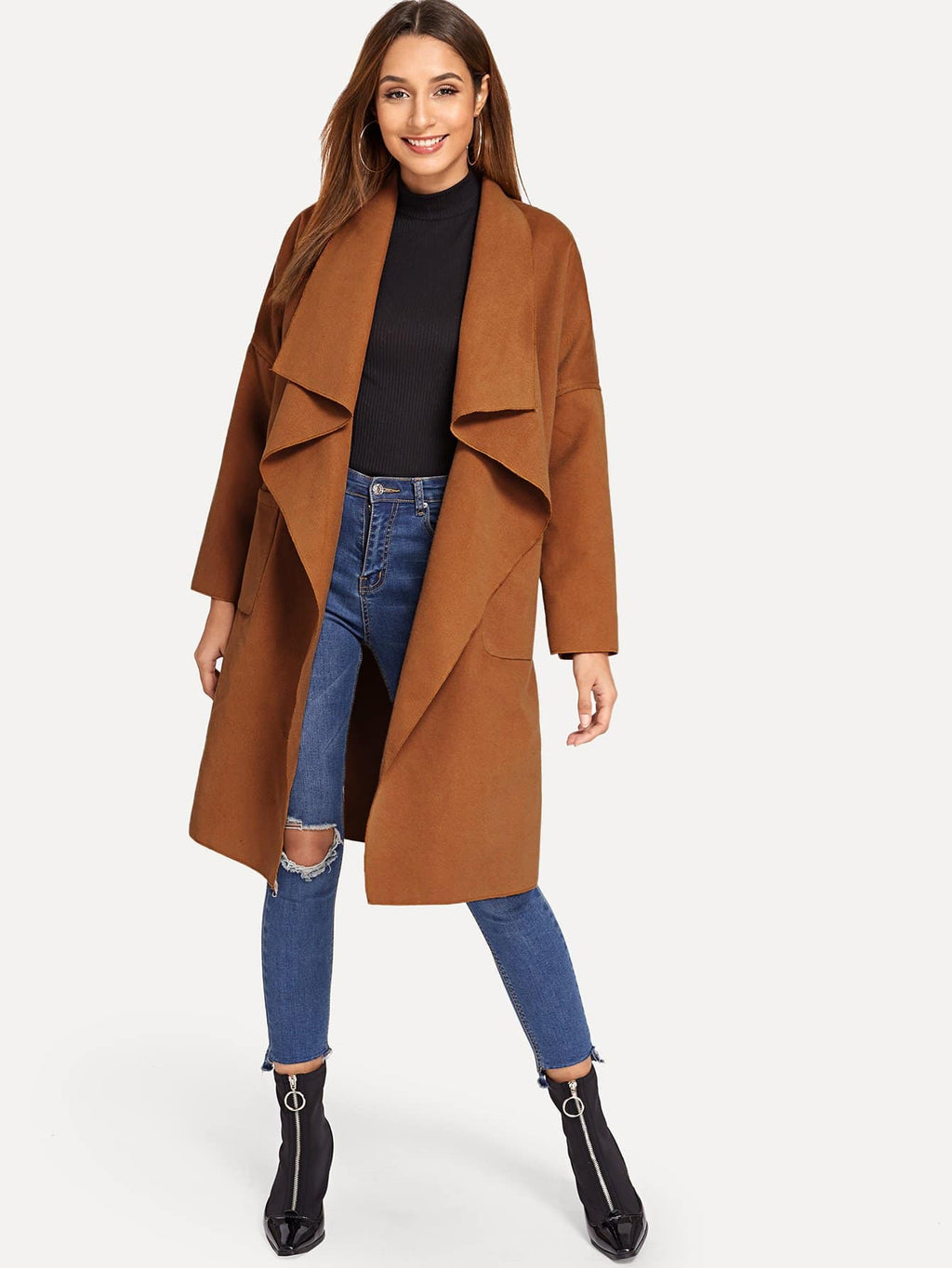 Pocket Front Waterfall Coat Brown FD