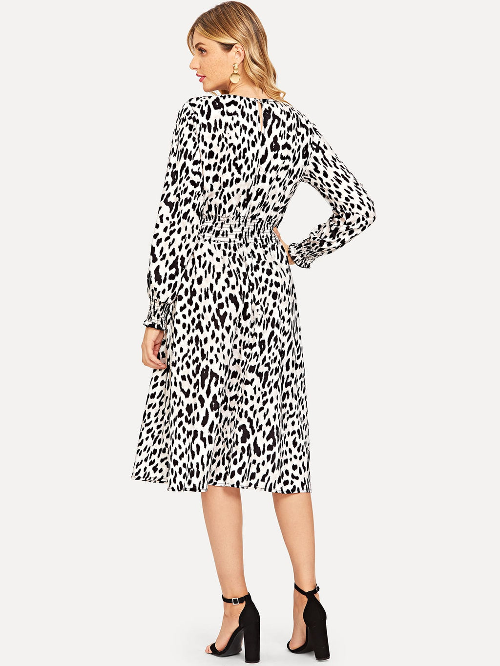 Shirred Waist Leopard Dress (4384959955009)