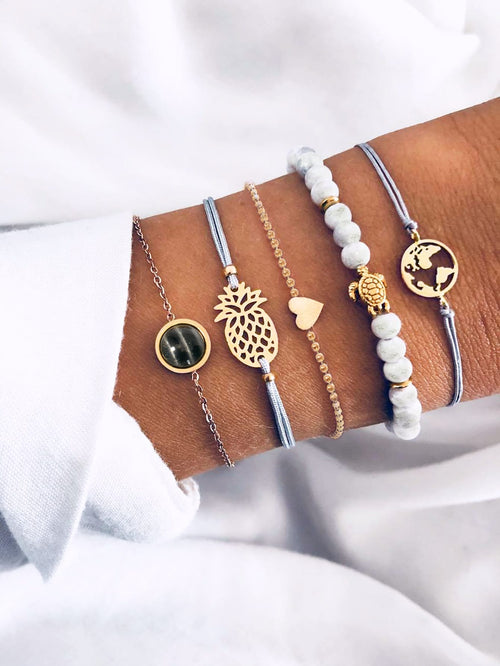 Pineapple & Earth Bracelet Set 5pcs FD-Negative Apparel