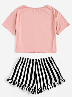 Eye and Letter Graphic Top & Ruffle Striped Shorts PJ Set FD