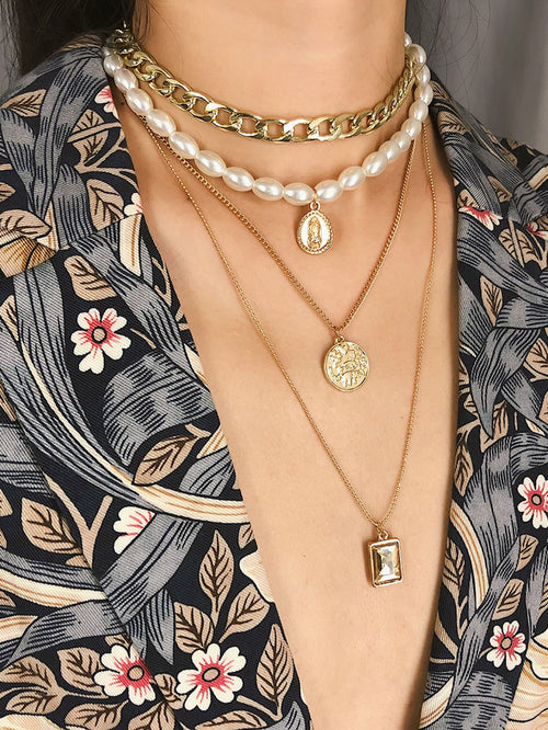 Coin Pendant Faux Pearl & Chain Layered Necklace 1pc FD-Negative Apparel