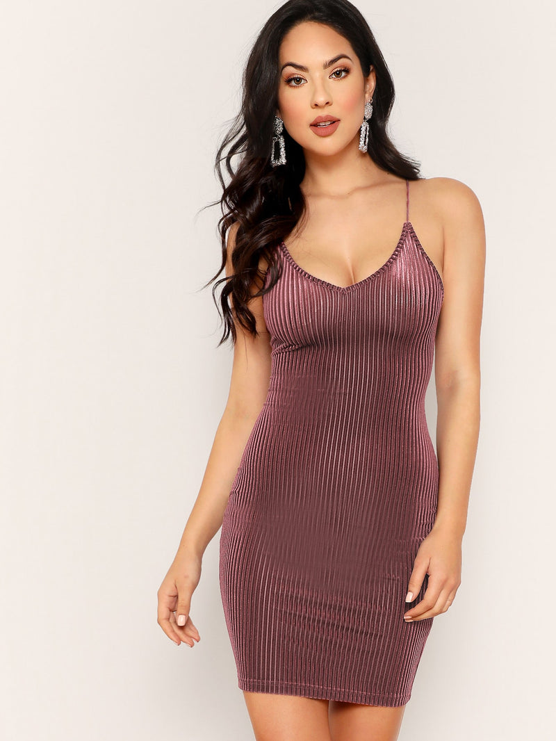Lace Up Back Velvet Rib Cami Dress Pink-Negative Apparel
