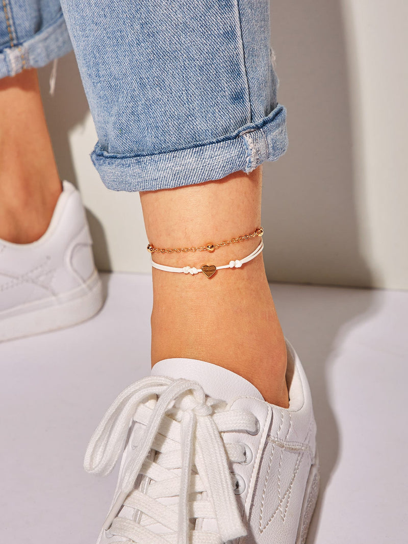 Heart Detail Anklet 2pcs-Negative Apparel