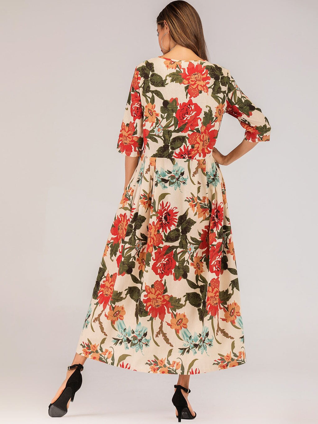 Allover Floral Pleated Longline Dress (4384101793857)