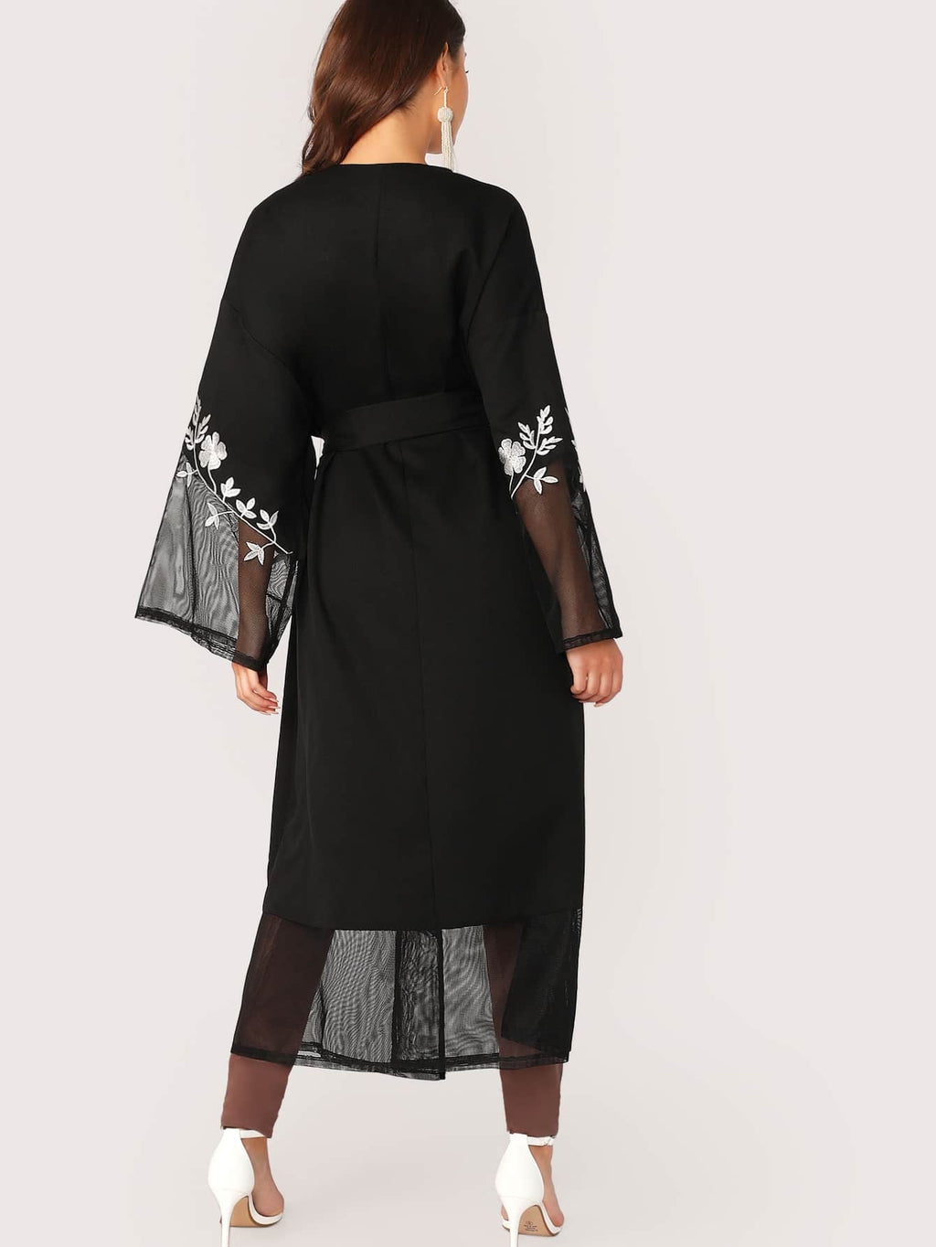 Open Front Mesh Insert Embroidery Floral Abaya (4436423180353)