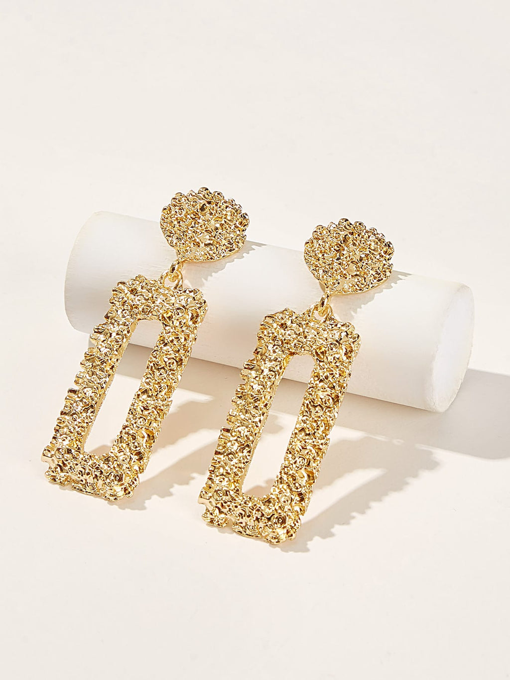 Open Rectangle Textured Drop Earrings 1pair (3987037225030)