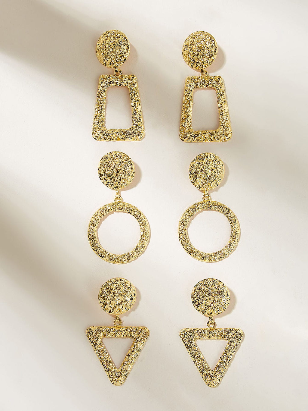 Textured Round Open Geometric Drop Earrings 3pairs (3987047743558)
