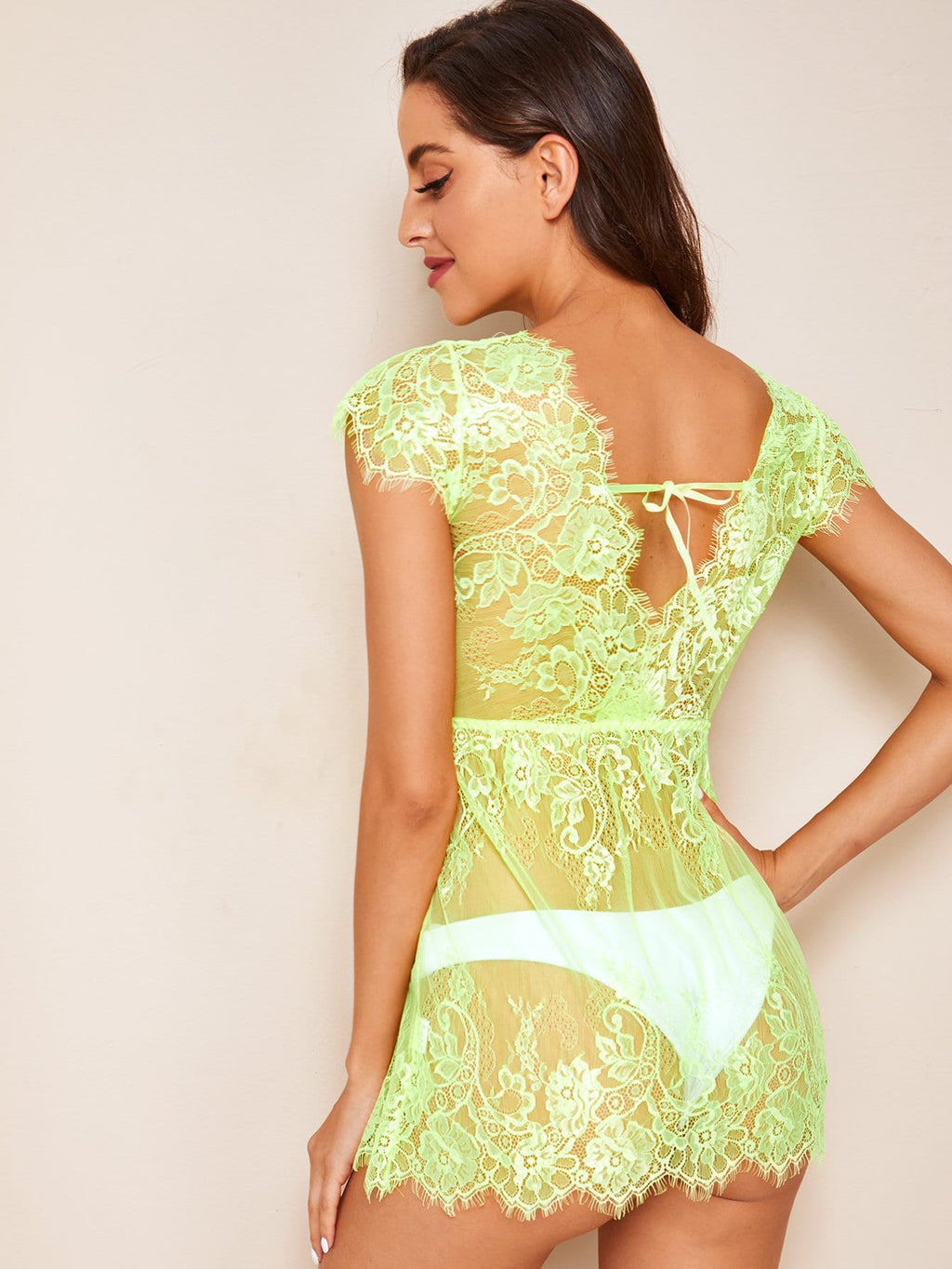 Neon Lime Floral Lace Dress With Thong (4405401681985)