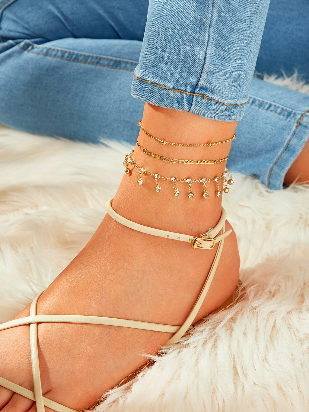 Rhinestone Engraved & Ball Decor Chain Anklet 3pcs (3987058098246)