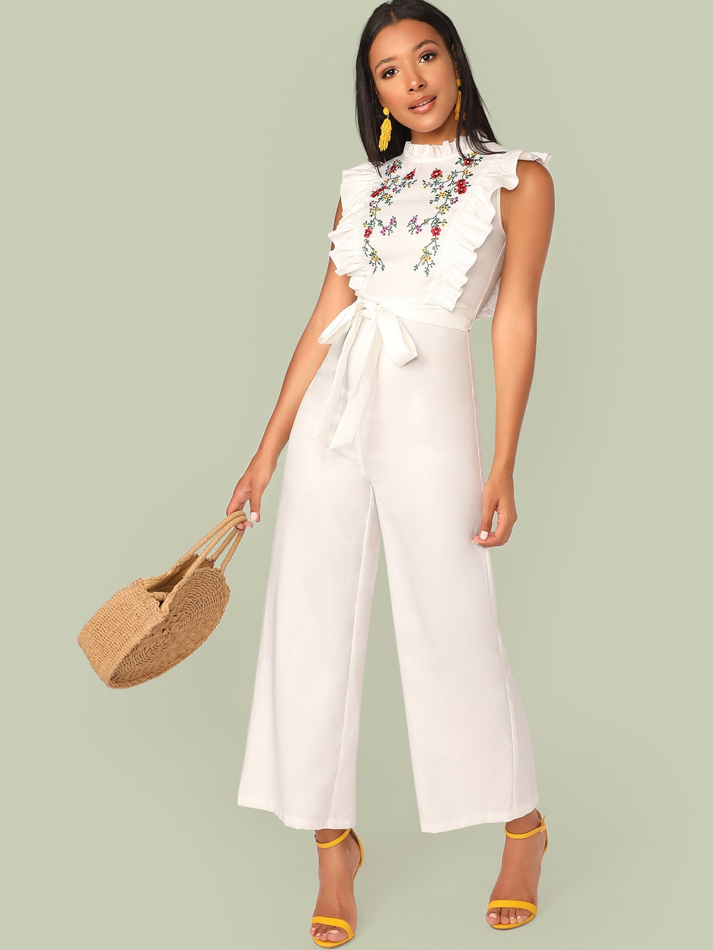 Mock Neck Ruffle Trim Embroidery Belted Palazzo Jumpsuit (4384712556609)