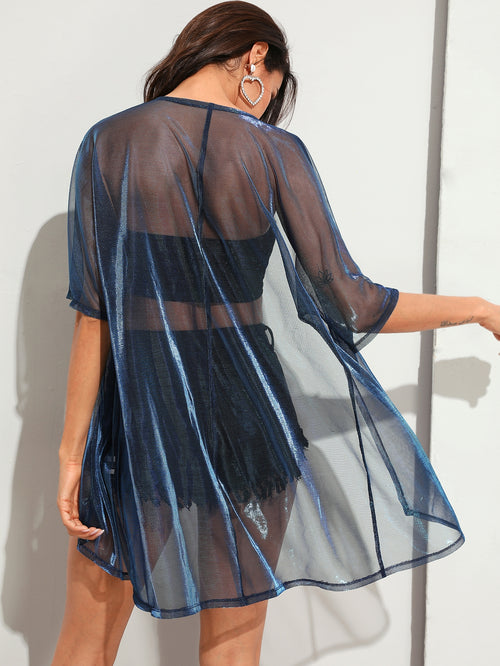 Sheer Metallic Kimono FD-Negative Apparel