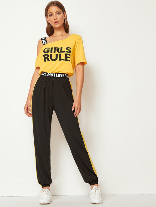 Asymmetrical Neck Slogan Tee and Contrast Sideseam Pants Set-Negative Apparel