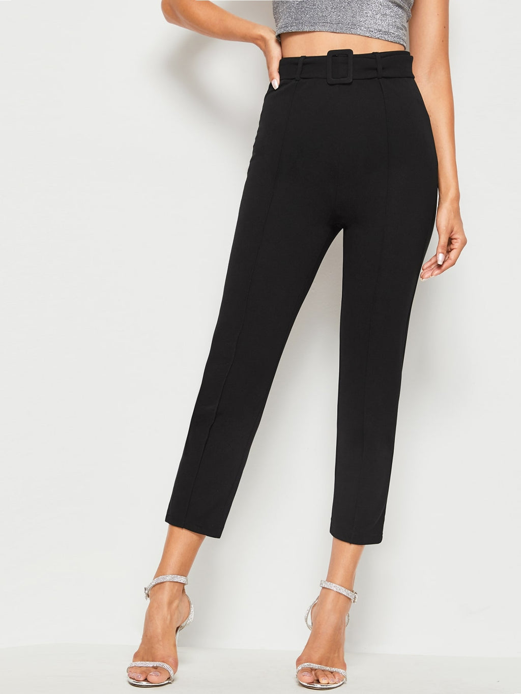 Buckle Belted Solid Cigarette Pants (4345144836161)