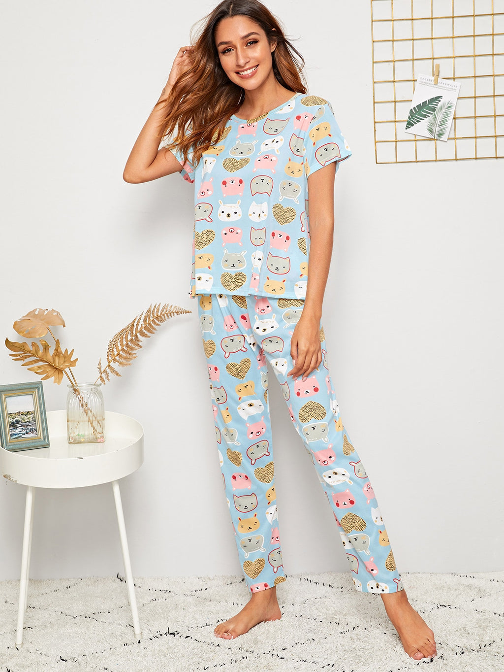 Cartoon Print PJ Set With Eye Cover