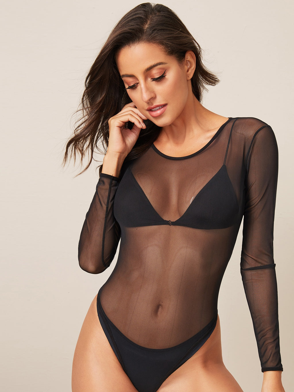 Mesh Sheer Solid Skinny Bodysuit Without Bra (4377966542913)