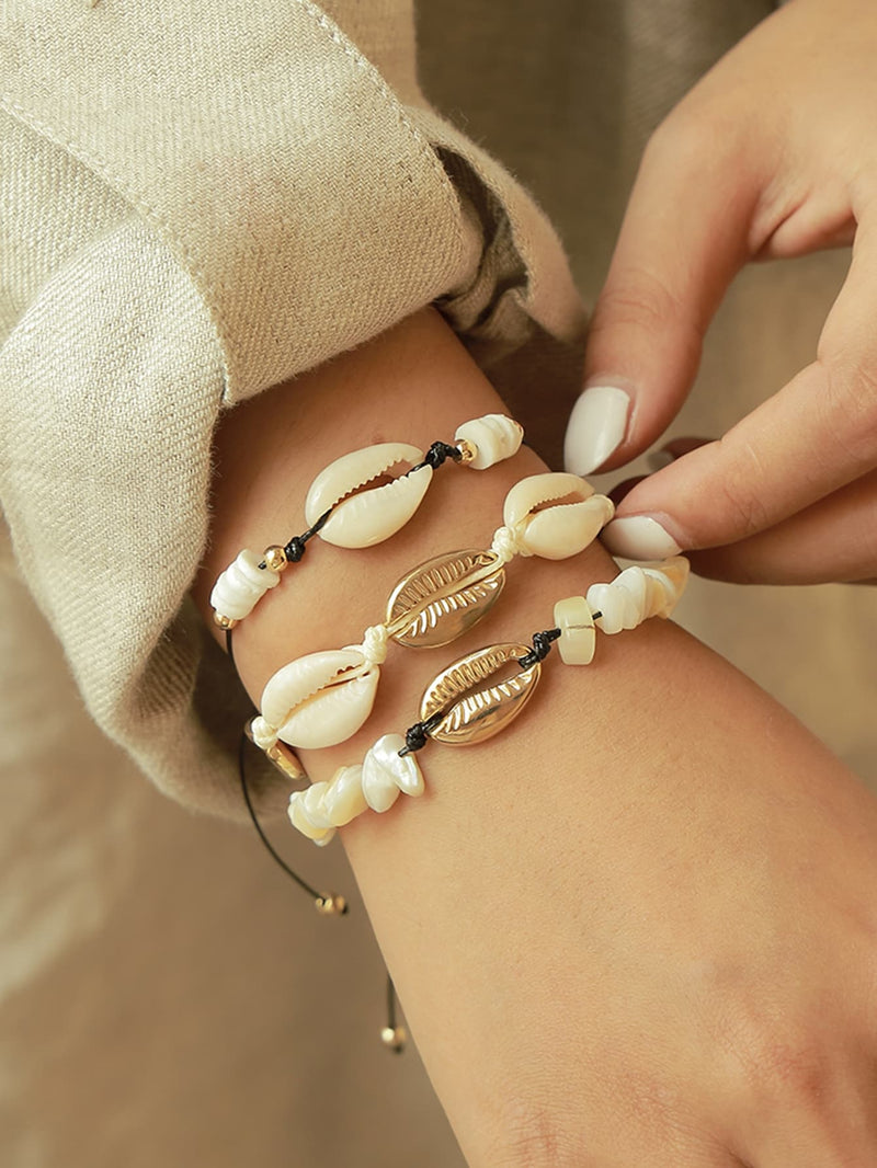 Shell Design Bracelet 3pcs-Negative Apparel