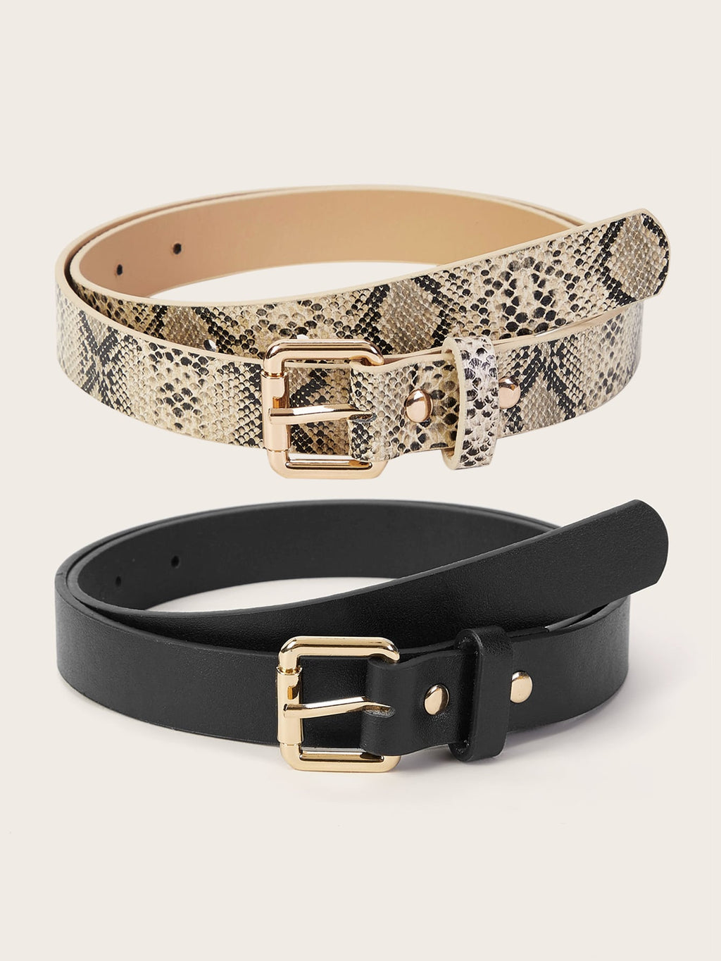 Snakeskin Pattern Metal Buckle Belt 2pcs (3987104071750)