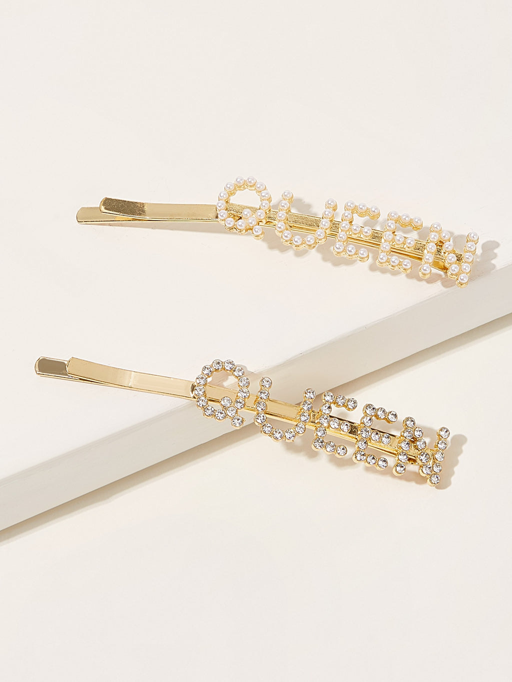 Faux Pearl & Rhinestone Engraved Letter Hairpin 2pcs (4399062089793)