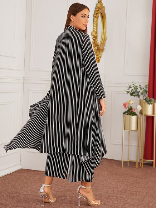 Vertical-striped Longline Coat With Wide Leg Pants-Negative Apparel