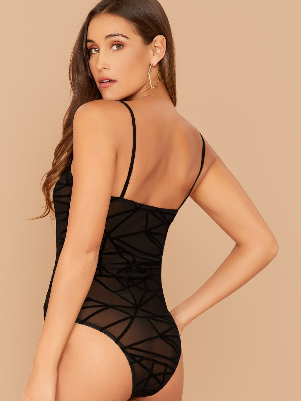 Geo Flocked Mesh Sheer Bodysuit Without Panty (4377965953089)