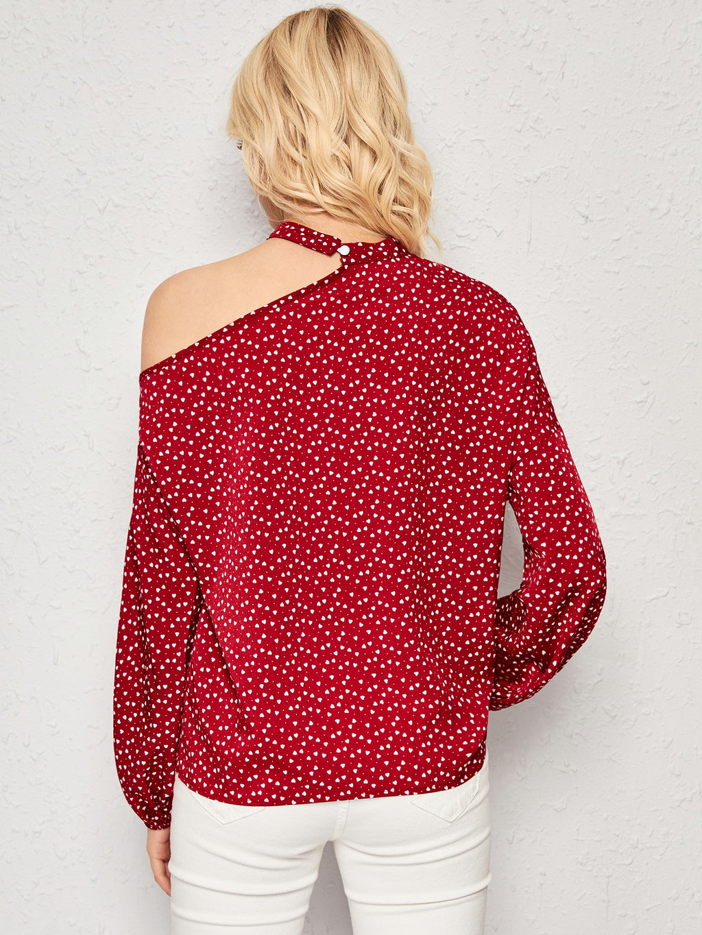 Confetti Heart Print Asymmetrical Neck Blouse (4168332836934)